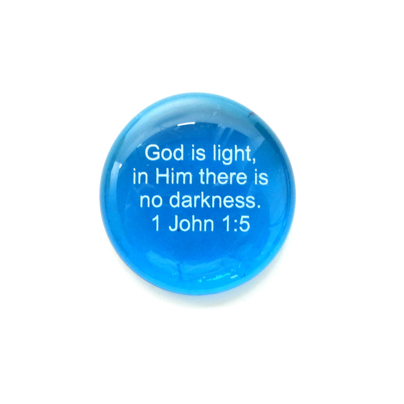 God is light, in Him there is... Glass Stone from Lifeforce Glass