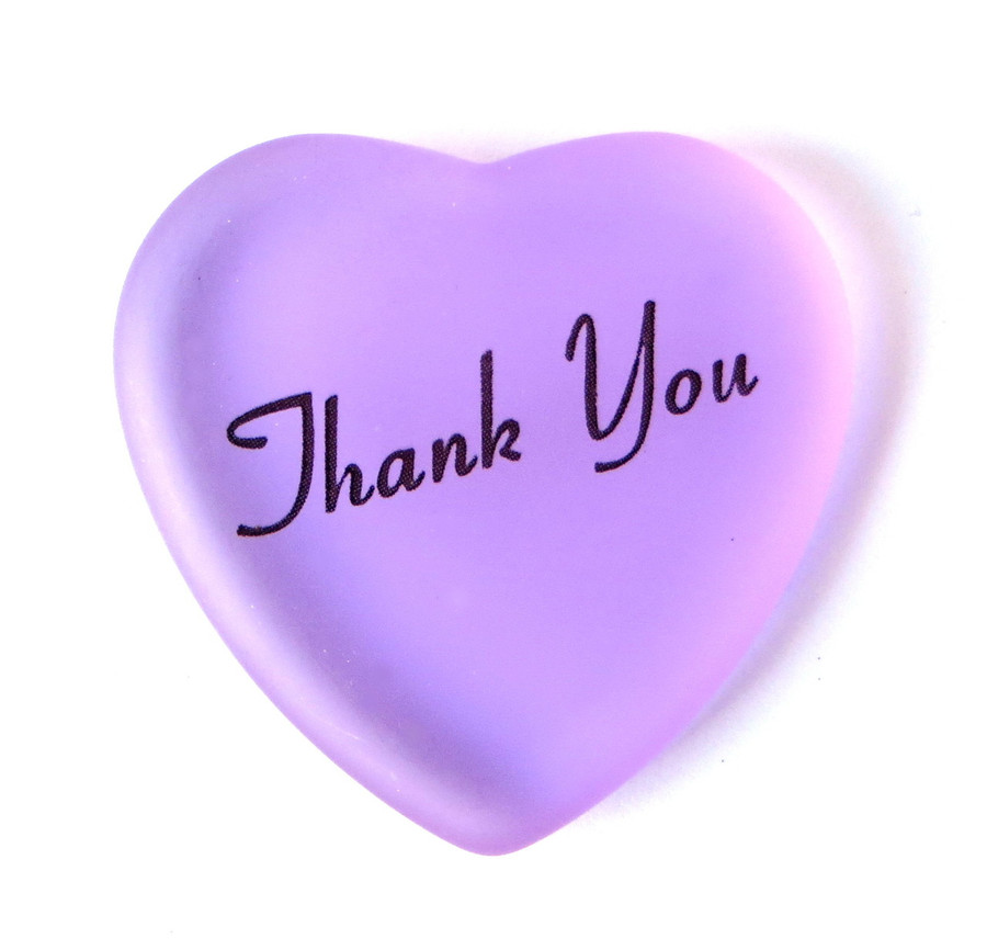 Thank you glass heart from Lifeforce Glass, Inc. Lilac