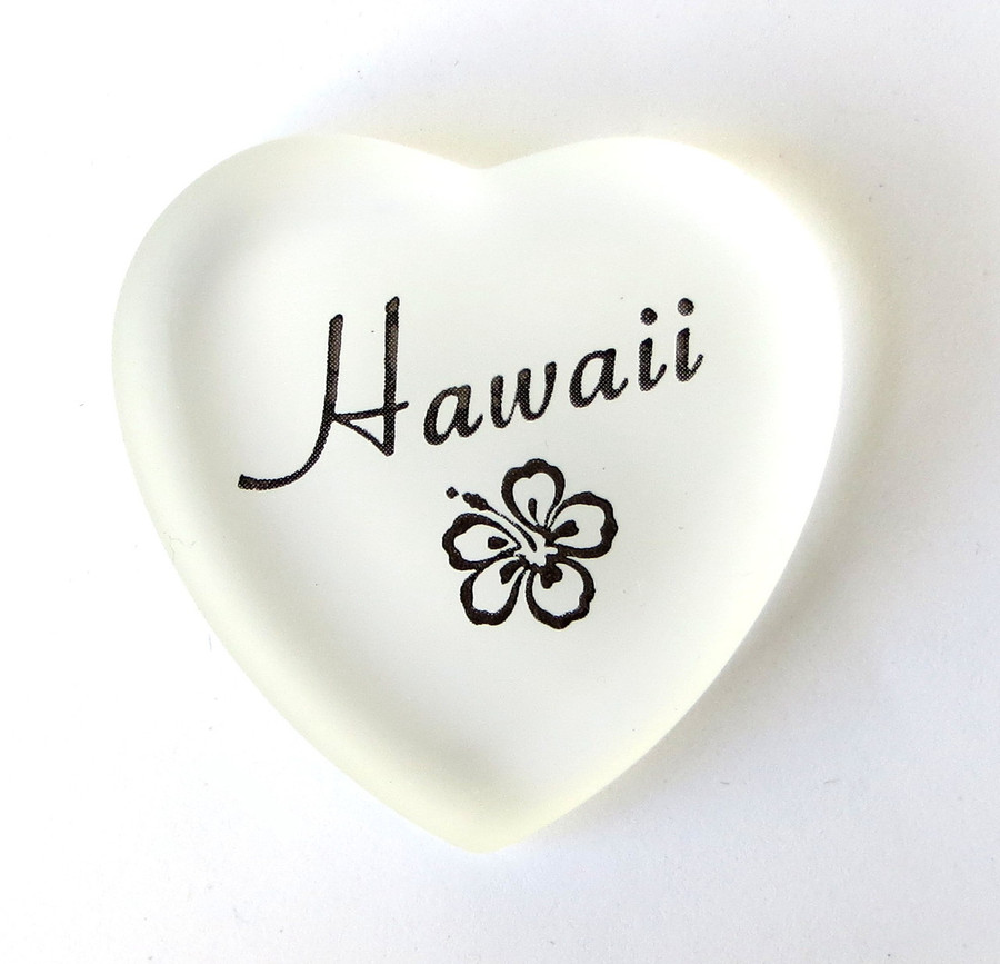 Hawaii Heart, white, from Lifeforce Glass, Inc.