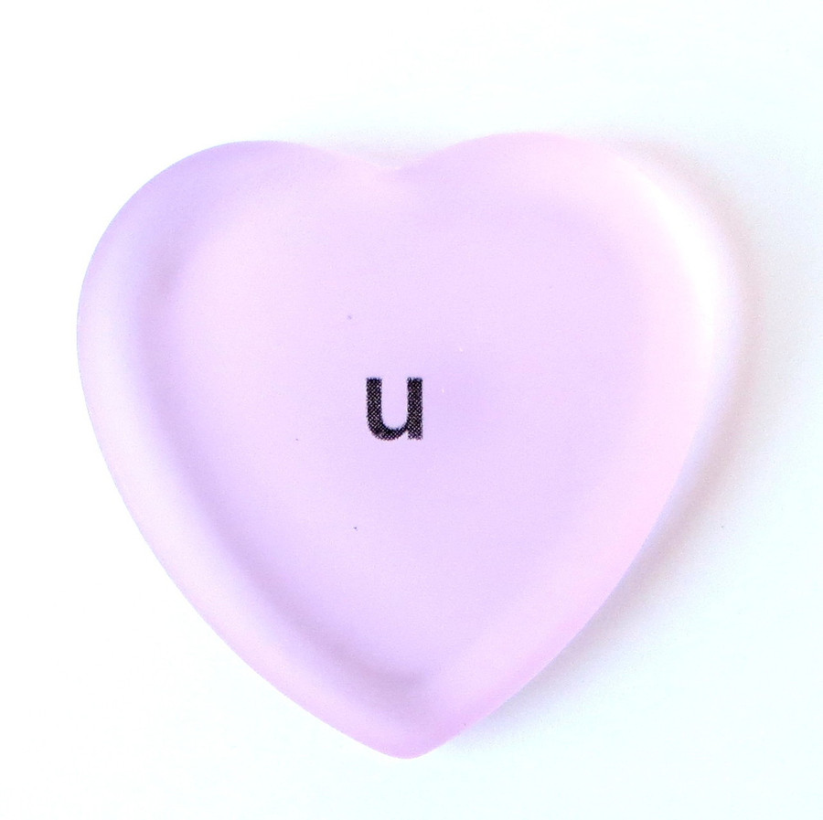 U frosted glass heart from Lifeforce Glass.