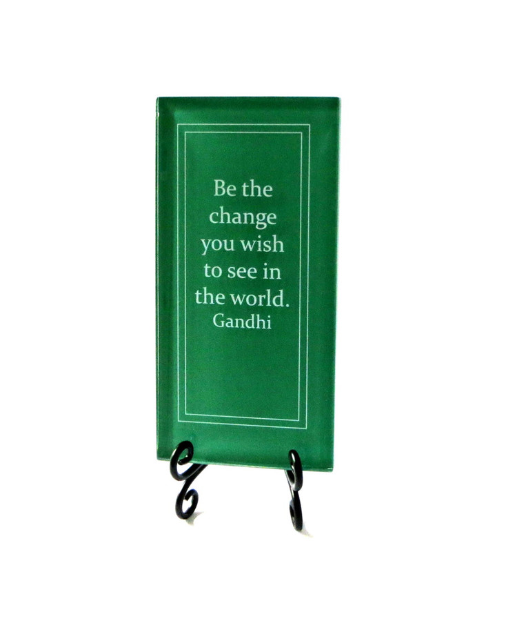 Inspirational Glass Plaque- Be the change, from Lifeforce Glass