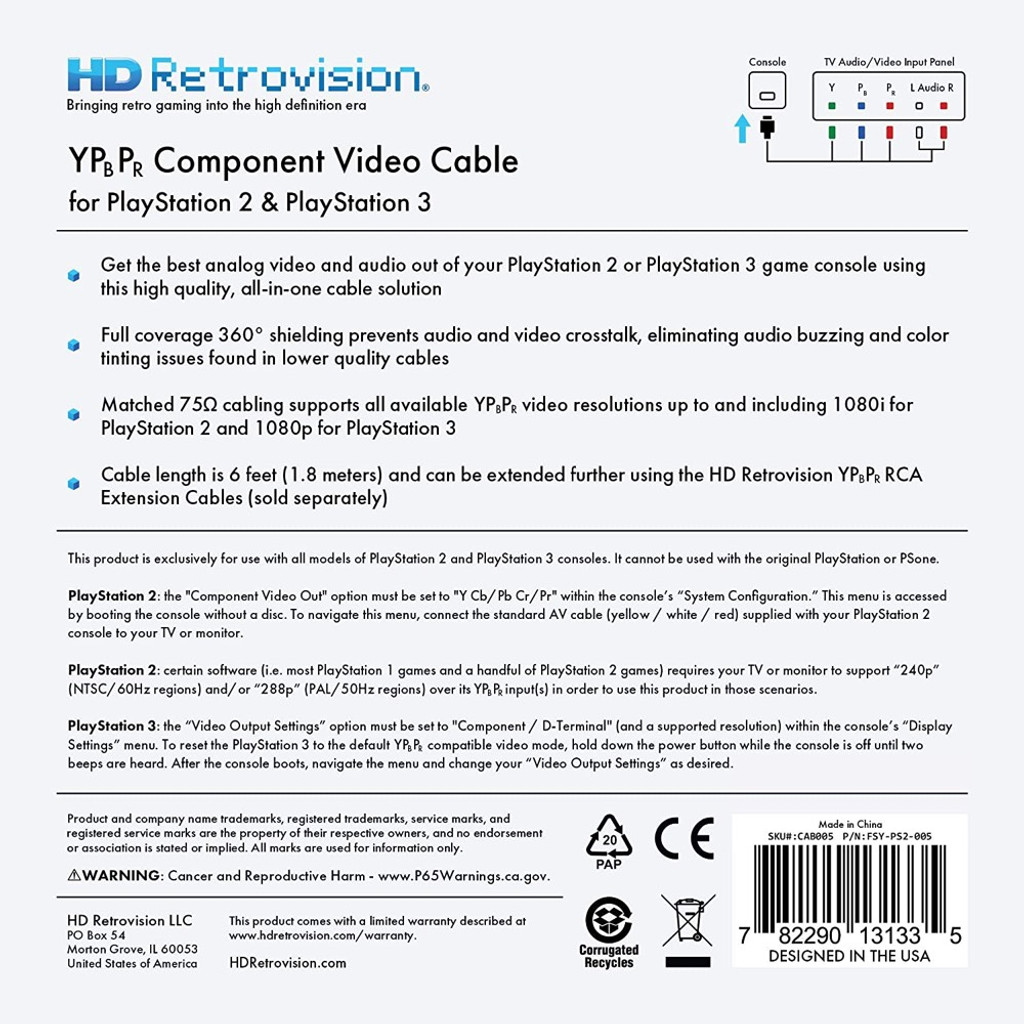PlayStation 2/3 (PS2/PS3) Premium YPbPr Component Cable