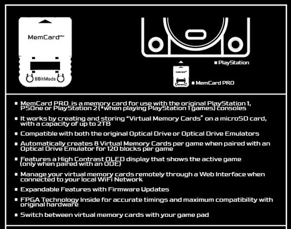 MemCard PRO for PlayStation 1 (Smoke Black)