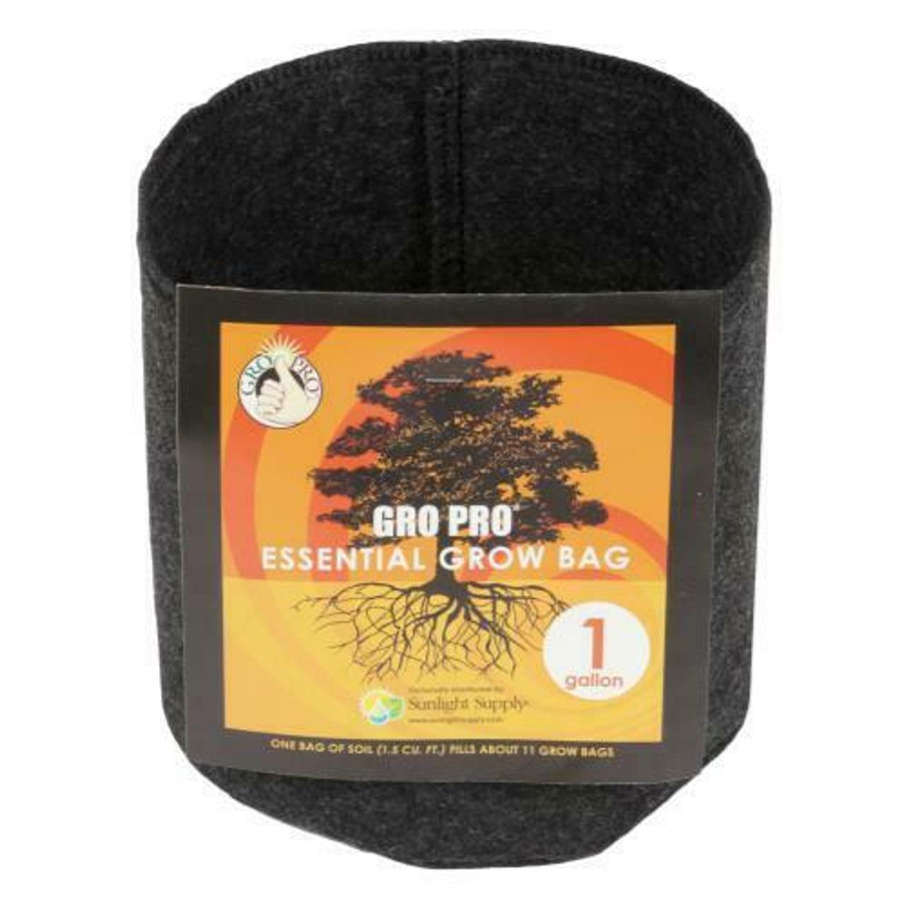 Gro Pro Essential Round Fabric Pot - Black 1 Gallon