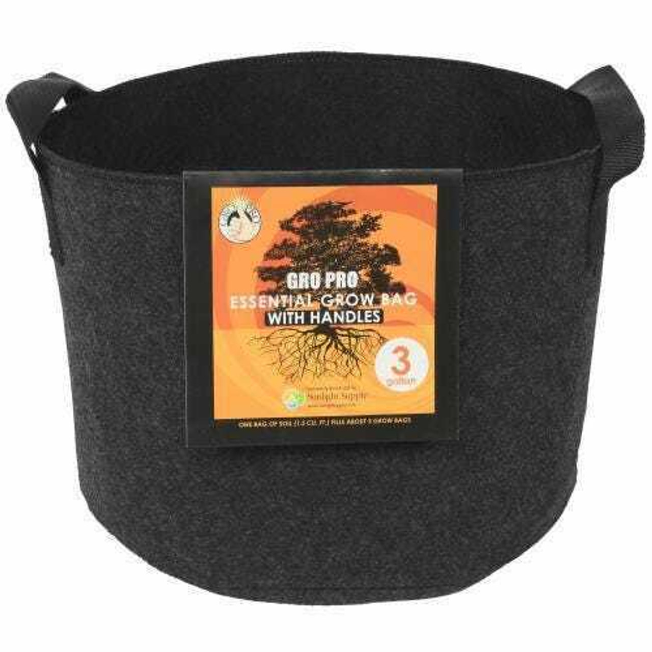 Gro Pro Essential Round Fabric Pot w/ Handles 3 Gallon - Black
