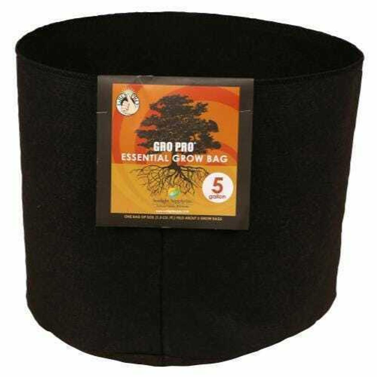 Gro Pro Essential Round Fabric Pot - Black 5 Gallon
