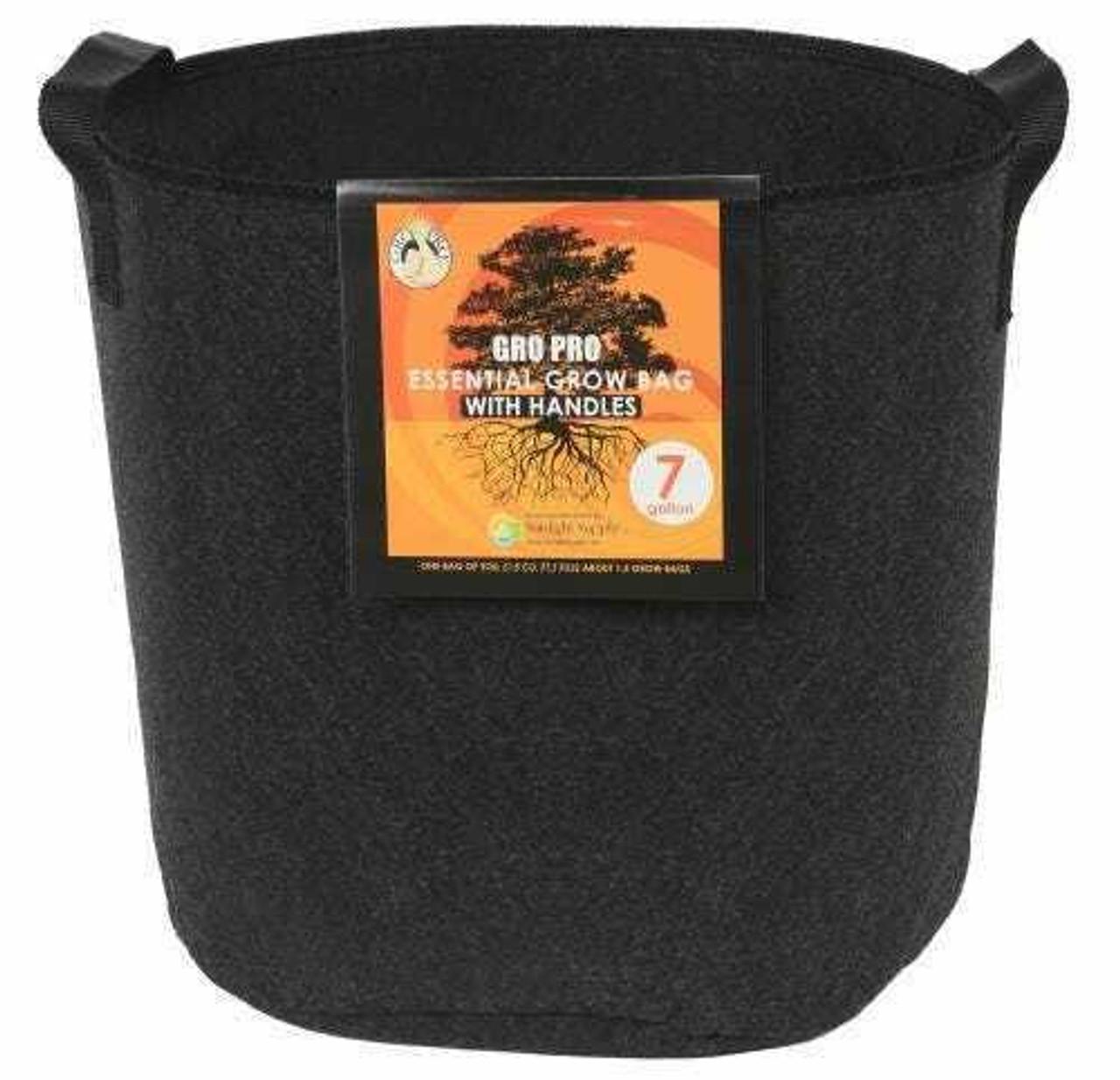 Gro Pro Essential Round Fabric Pot w/ Handles 7 Gallon - Black - 1