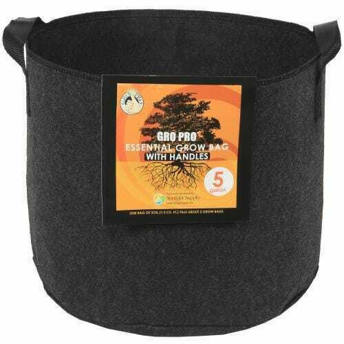 Gro Pro Essential Round Fabric Pot w/ Handles 5 Gallon - Black - 1