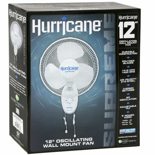 Hurricane Supreme Oscillating Wall Mount Fan 12 in (63/Plt) - 1
