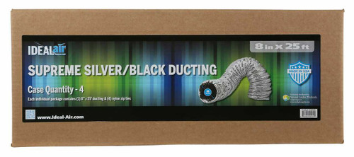 Ideal-Air Supreme Silver / Black Ducting 8 in x 25 ft - 1
