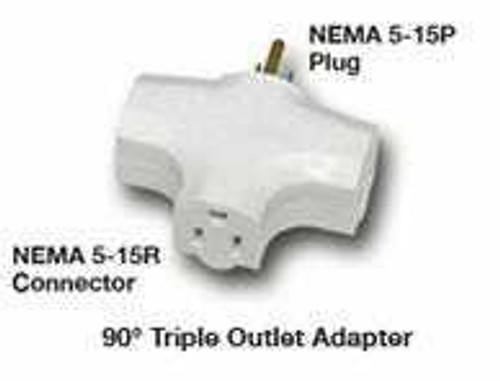 90 Degree Tri Tap Adapter, White - 1