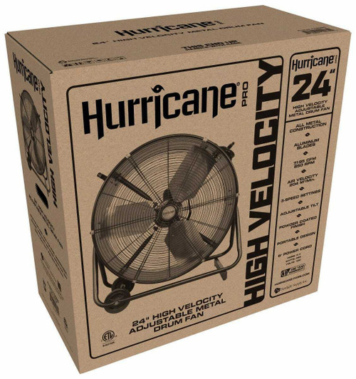 Hurricane Pro Heavy Duty Adjustable Tilt Drum Fan 24 in - 1