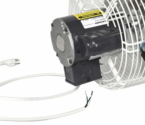 Schaefer Versa-Kool Circulation Fan 12 in w/ Tapered Guards, Cord & Mount - 1470 CFM - 1