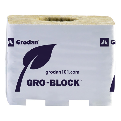 Gro Block Improved Medium 4Inches GR7,5 w/ hole (4Inchesx4Inches3.1Inches) wrapped (6/strip- 32 strips per cs) 192 per case
