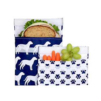 Lunchskins - Sandwich Snack Bags - Navy Dog - Case of 12 - 2 Count