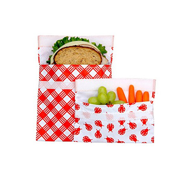 Lunchskins - Sandwich Snack Bags - Red Picnic - Case of 12 - 2 Count
