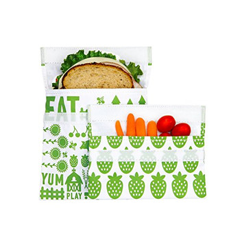 Lunchskins - Sandwich Snack Bags - Green Fruit - Case of 12 - 2 Count