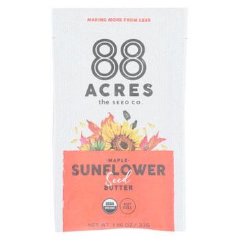 88 Acres - Seed Butter - Organic Maple Sunflower - Case of 10 - 1.16 oz.