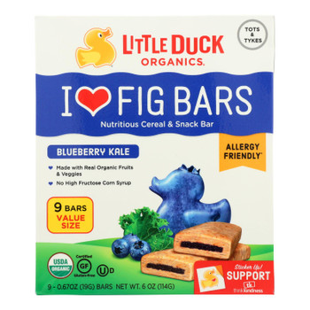 Little Duck Organics - Fig Bars - Blueberry Kale - Case of 8 - 9/0.67 oz.