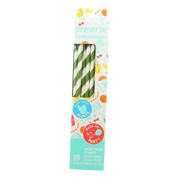 Green 2 - Straws Bamboo Paper Jmbo - Case of 12 - 500 CT