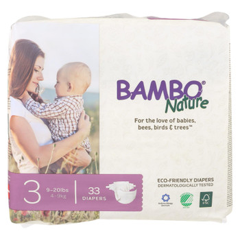 Bambo Nature - Diapers Size 3 9-20 Lbs - Case of 6 - 33 CT