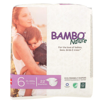 Bambo Nature Eco-Friendly Size 6 Diapers  - Case of 6 - 22 CT