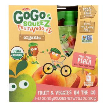 Gogo Squeez Pedal Pedal Peach Organic Fruit & Veggiez On The Go - Case of 12 - 4/3.2 OZ