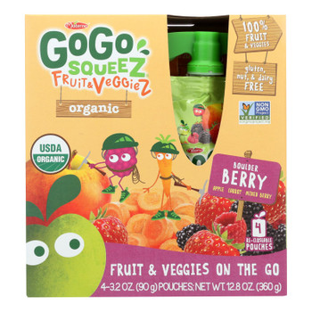Gogo Squeez Bolder Berry Organic Fruit & Veggiez On The Go - Case of 12 - 4/3.2 OZ