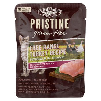 Castor & Pollux Wet Cat Food Pristine Grain-Free Free-Range Turkey Recipe  - Case of 24 - 3 OZ