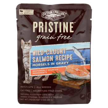 Castor & Pollux Wet Cat Food Pristine Grain-Free Wild-Caught Salmon Recipe  - Case of 24 - 3 OZ