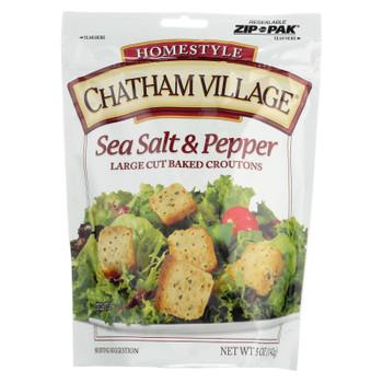 Chatham Village Croutons Sea Salt & Pepper Large Cut  - Case of 12 - 5 OZ