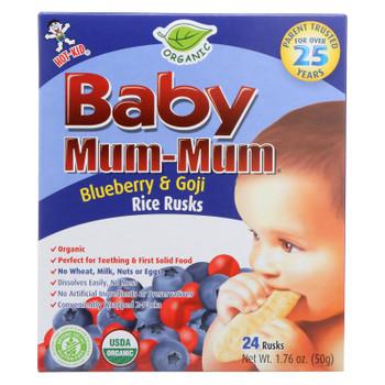 Baby Mum Mum Organic Baby Teeth Rice Rusk Organic Rice Snack With Blueberry And Goji Flavor  - Case of 6 - 1.76 OZ