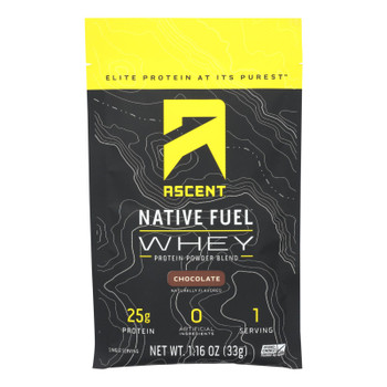 Ascent Native Fuel Chocolate Whey Protein Powder Blend Chocolate - Case of 15 - 1.16 OZ