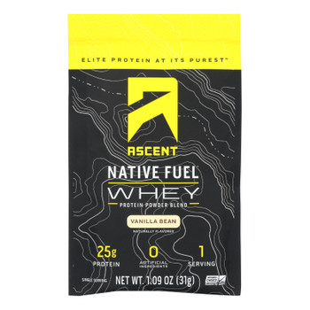 Ascent Native Fuel Whey Protein Powder Blend Vanilla Bean - Case of 15 - 1.09 OZ