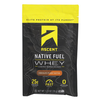 Ascent Native Fuel - Whey Chocolate Peanut Butter Sngle Packet - Case of 15 - 1.23 OZ