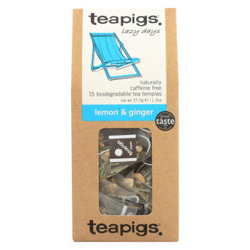 Teapigs Lemon & Ginger Lazy Days Tea  - Case of 6 - 15 CT