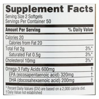 Spectrum Essentials Omega-3 Fish Oil Dietary Supplement  - 1 Each - 100 CAP