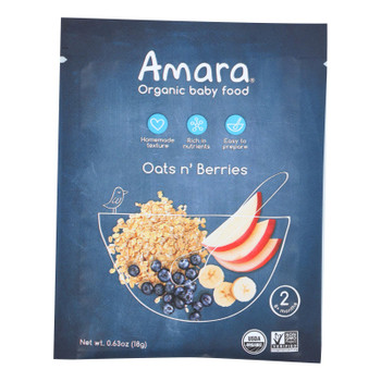 Amara - Baby Food Oats N Berry - Case of 5 - .63 OZ