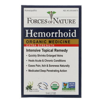 Forces Of Nature Hemorrhoid Control Extra Strength Certified Organic Medicine  - 1 Each - 5 ML