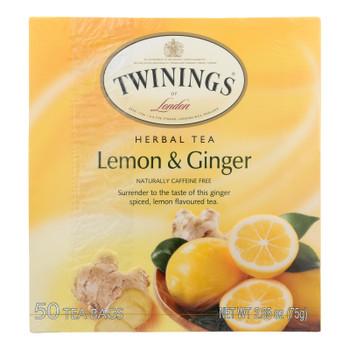 Twinings Tea - Tea Lemon & Ginger - Case of 6 - 50 BAG