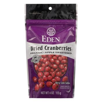 Eden Foods Eden Organic Dried Cranberries Apple Sweetened - Case of 15 - 4 OZ