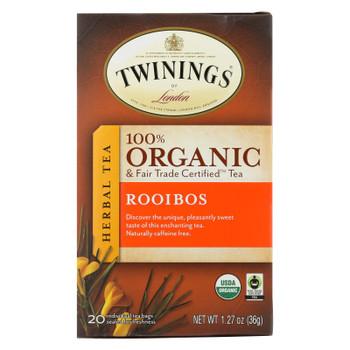 Twinings Tea - 100 Percent Organic - Rooibos - 20 Bags - Case of 6 - 20 BAG