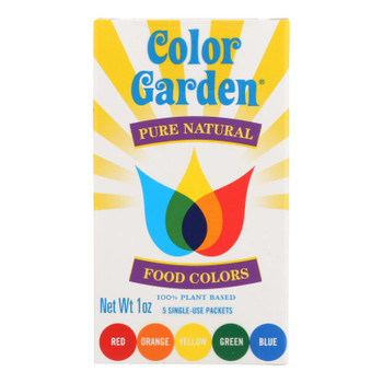 Color Garden Pure Natural Food Colors Multi Pack Red,Yellow, Blue & Orange - Case of 12 - 1 OZ