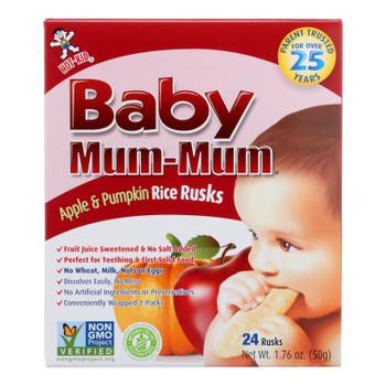 Baby Mum Mum Baby Teething Rice Rusk Apple And Pumpkin Flavored Rice Snack  - Case of 6 - 1.76 OZ