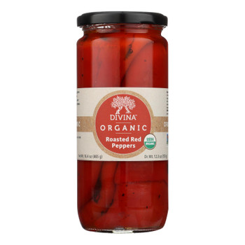 Divina, Organic Fire Roasted Sweet Peppers  - Case of 6 - 16.2 OZ