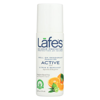 Lafe's Citrus And Bergamot Active Roll-On Deodorant  - 1 Each - 2.5 FZ
