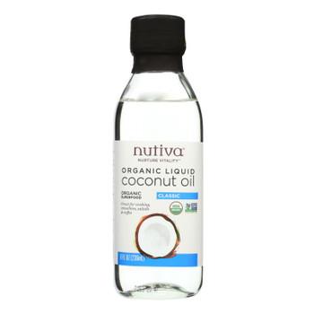 Nutiva Organic Liquid Coconut Oil's Sole Ingredient  - Case of 6 - 8 FZ
