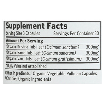 Organic India Usa Whole Herb Supplement, Tulsi--Holy Basil  - 1 Each - 90 VCAP