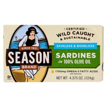 Season Sardines In Olive Oil  - Case of 12 - 4.375 OZ
