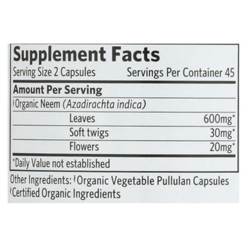 Organic India Usa Whole Herb Supplement, Neem  - 1 Each - 90 VCAP